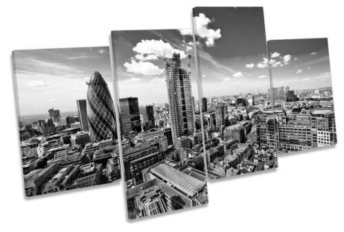Cityscape London Skyline B/&W MULTI CANVAS WALL ART Boxed Framed