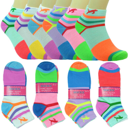 6 Pairs Women Fashion Cotton School Plain Ankle Low Cut Socks Size 9-11 cat s
