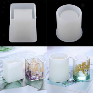 Brush-Pot-Silicone-Mold-Mould-For-Epoxy-Resin-DIY-Dried-Flower-Crystal-Craft-US