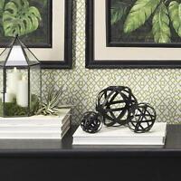 Raz Set Of 3 Black Metal Orb Figures 3617066 Home Table Decoration