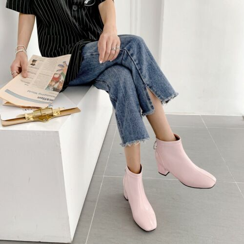 Womens Ankle Chelsea Boots Patent Leather Square Toe Block Heels Zipper Shoes UK