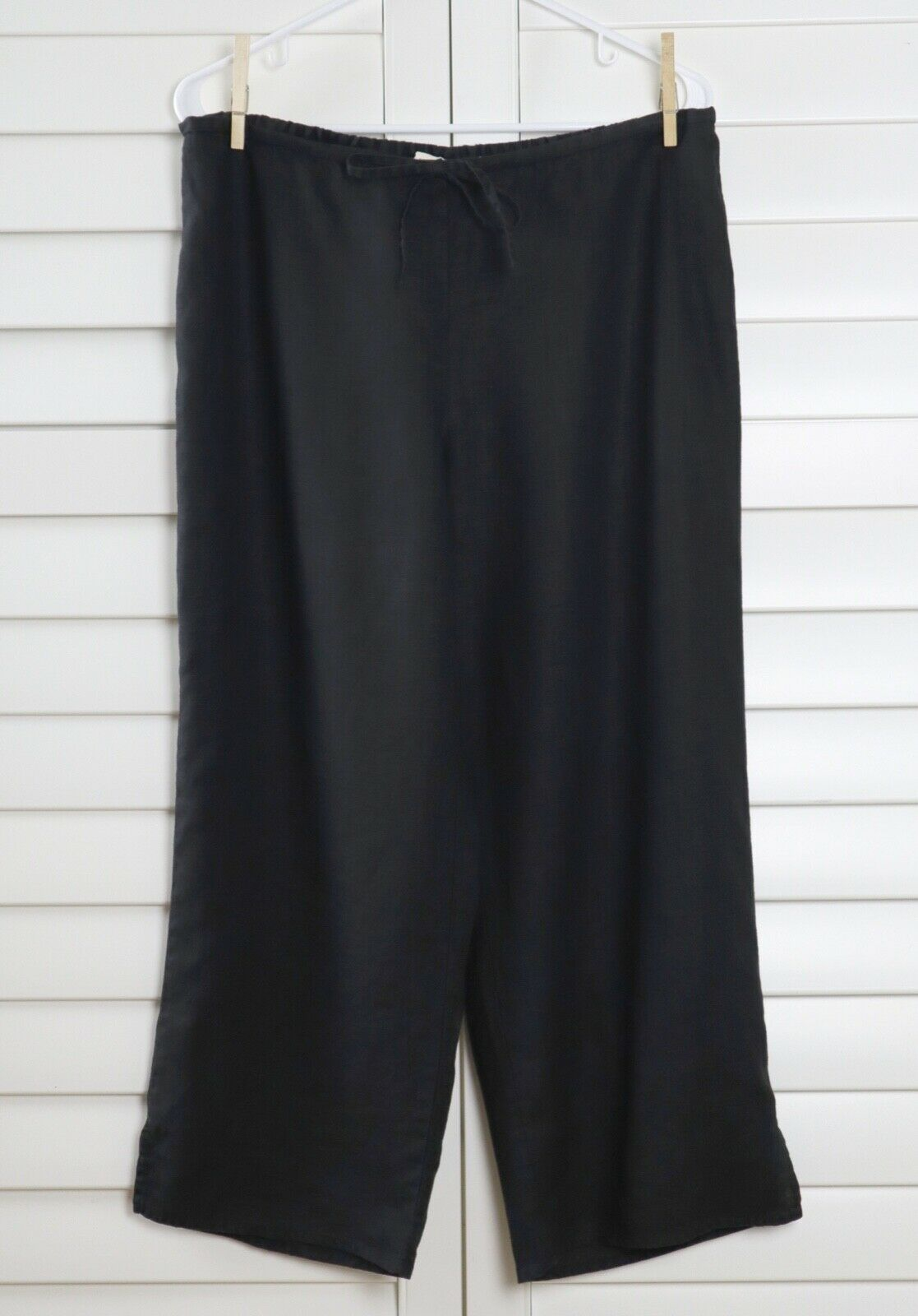 EILEEN FISHER  148 100% Irish Linen 1 2 Elastic Drawstring Crop Pants Größe Small