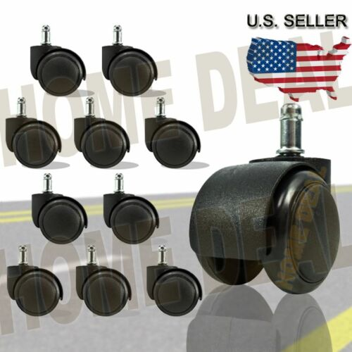 10 X Twin Wheel Replacement Office Chair Swivel Caster w/ Grip Ring Stem black