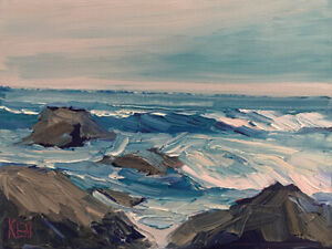 ROCKY SHORES FOUR Original Expression Seascape Ocean Painting 9x12 052219 KEN