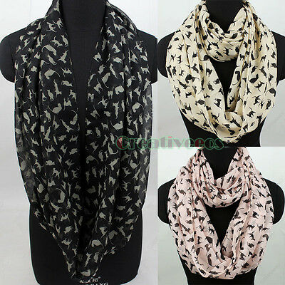 Women's Fashion Scarves All Over Chic Cats Print Soft Chiffon Infinity Scarf New