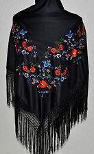 """Flamenco spagnolo danza nero Triangolare Scialle Multi ricamo floreale 66""""x39"""""""