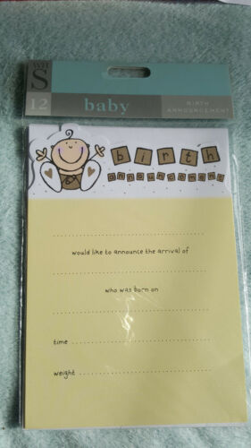 PACK OF 12 W H SMITH CREAM /& GOLD NEW BABY BIRTH ANNOUNCEMENTS WITH ENVELOPES