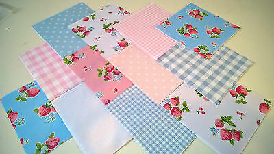 "30 x STRAWBERRY LICIOUS 5"" FABRIC PATCHWORK SQUARES PIECES CHARM PACK"