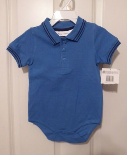 NWT First Impressions Blue Romper Creeper with Polo Collar Baby Boy 12 months