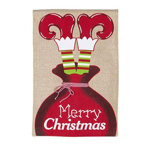 Darice Merry Christmas Garden Flag Burlap 12 x 18 inches w