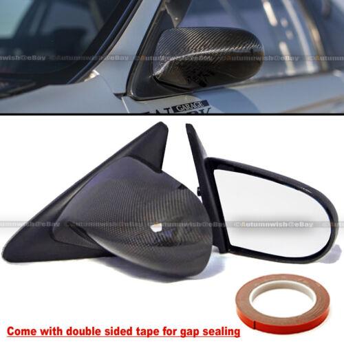 Fit 92-95 Civic 4Dr Sedan Carbon Fiber Manual Adjustable Spoon Style Side Mirror