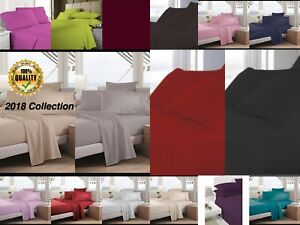 Fitted Bed Sheets Plain Dyed Non Iron Poly-Cotton Pillowcase Bedding All Sizes