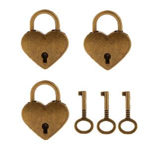 Heart-Shape-Padlock-with-Keys-Jewelry-Box-Lock-Set-Antique-Brass-Set-of-3