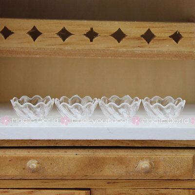 4 x Mini Bowls Kitchen Plate Transparent Plastic Barbie Dollhouse Miniature 1:12