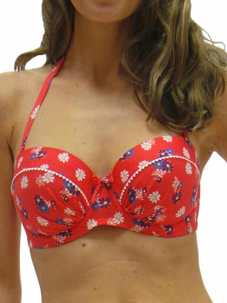 Audelle Lepel Imprimé Marguerite Bikini Top Bandeau 76411 à Armatures - Rouge