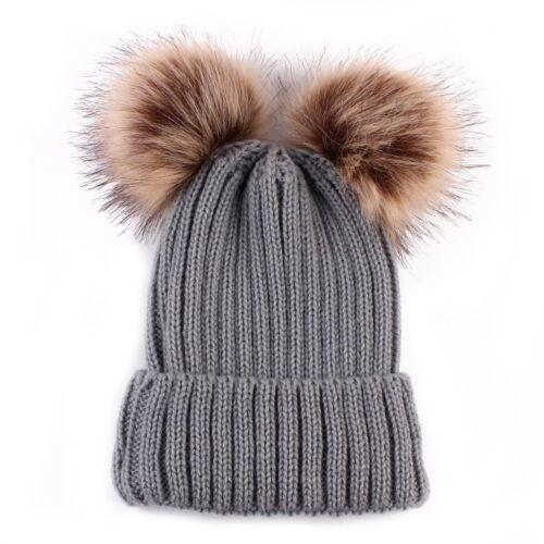 Baby Toddler Girls Boys Infant Winter Knit Beanie Hat Crochet Ski Ball Cap Xmas