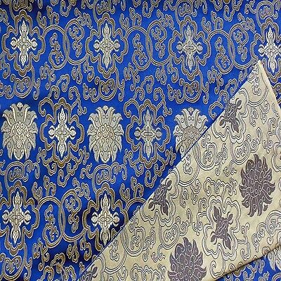 0.5 yard faux silk Brocade satin fabric(royal blue w dark gold wealthy)2010