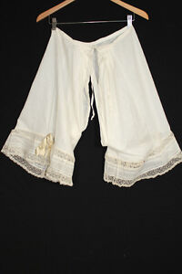 EXCEPTIONAL-QUALITY-ANTIQUE-VICTORIAN-FANCY-COTTON-LACE-BLOOMERS-30-034-32-034-WAIST