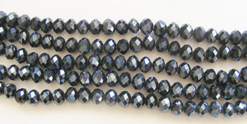 4.5mm 50 Crystal Rondelle//Abacus Glass Beads  Black