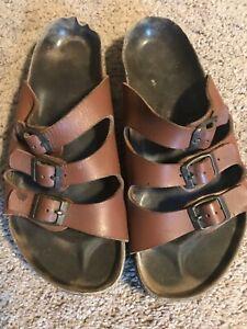 Birkenstock 41 Black Leather Sandals Womens Size 10 Mens 8 Soft Footbed Birkis | eBay