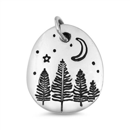 Plain Trees and Moon .925 Sterling Silver Charm Pendant