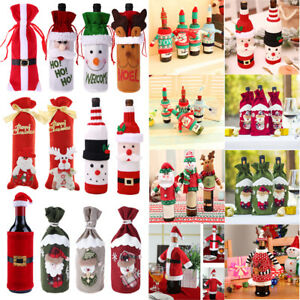 Christmas-Santa-Claus-Wine-Bottle-Cover-Gift-Bag-Table-Home-Party-Decoration-NEW