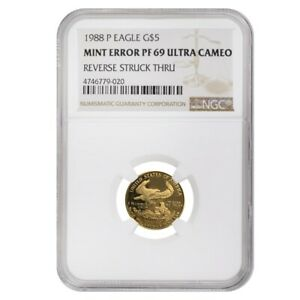 1988-P-1-10-oz-5-Proof-Gold-American-Eagle-NGC-PF-69-UCAM-Mint-Error-Rev