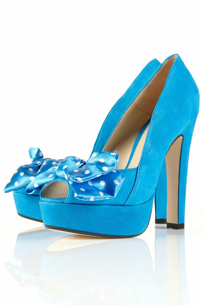 Topshop Blue Polka Heels Dot Peeptoe Platform Sandal Heels Polka UK 3 EURO 36 US 5.5 AUS 6 3cbce8