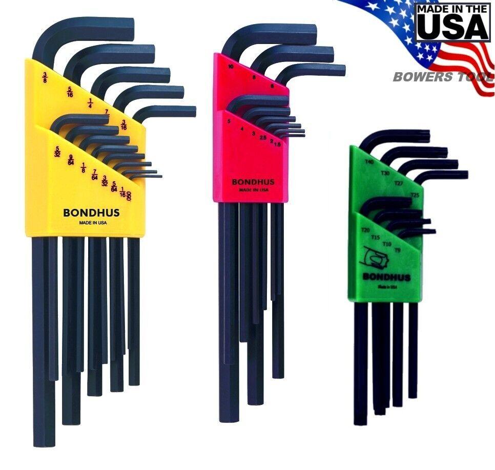 Bondhus 30pc Hex & Torx L Wrench Set Metric SAE Standard Inch USA 22199.31834