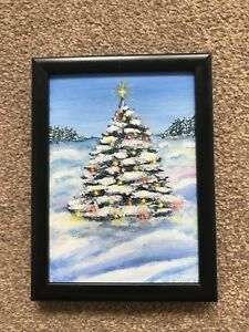 Acrylic Christmas Tree Painting.Details About 7x5 Original Acrylic Painting Christmas Tree