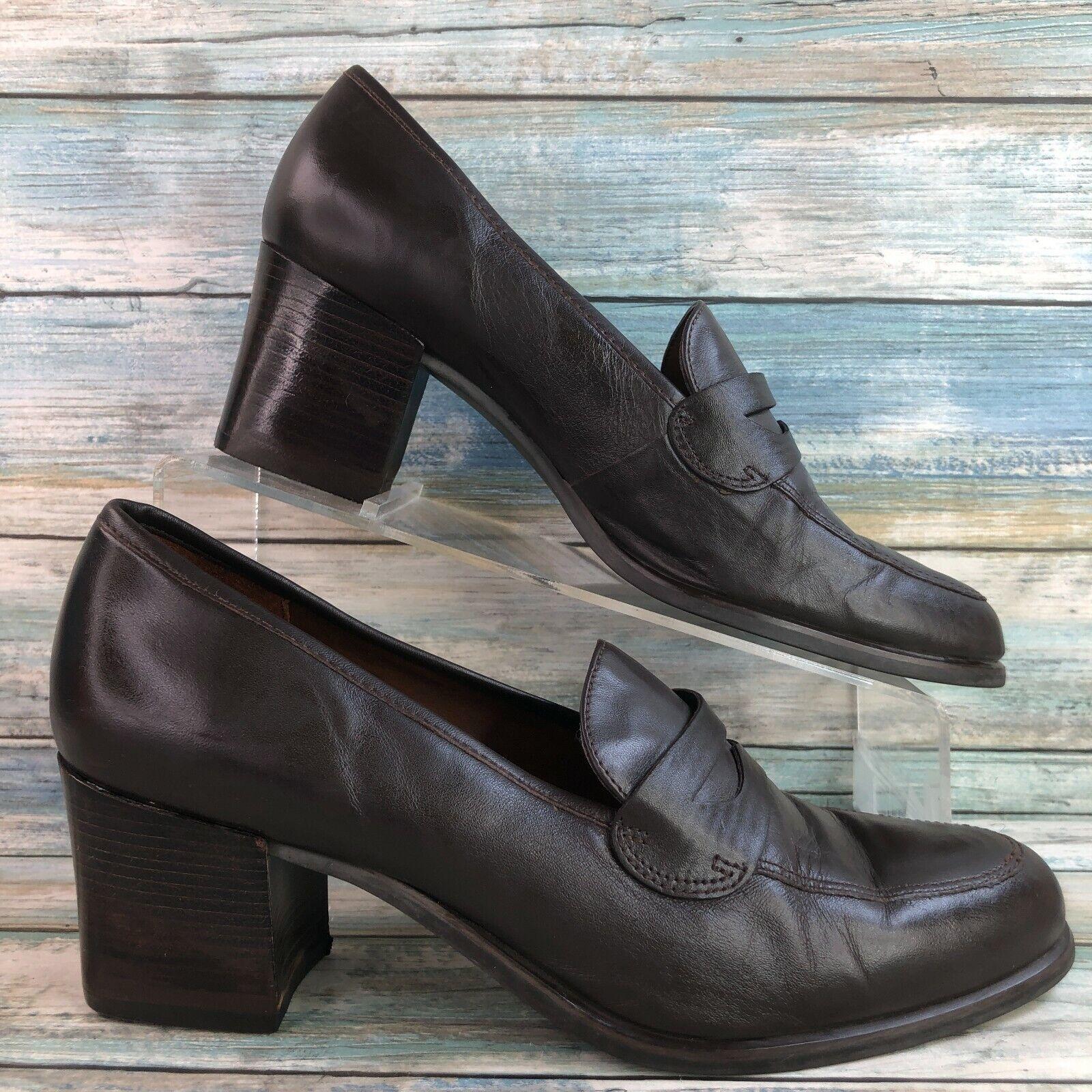 Etienne Aigner Waldo Women's Brown Soft Leather Dress Shoes Block Heel Size 8.5M