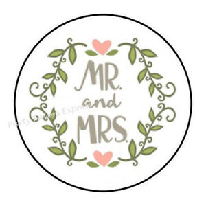 """30 MR AND MRS WEDDING ENVELOPE SEALS LABELS STICKERS PARTY FAVORS 1.5/"""" ROUND"""