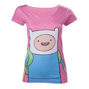 Official-Adventure-Time-Finn-The-Human-Polka-Dot-Pink-Short-Sleeved-Tshirt
