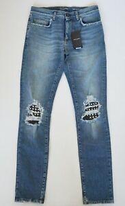 fd8fadef Details about NWT SAINT LAURENT Paris Blue STUDDED DISTRESSED Skinny Jeans  30 D02 M/SK-LW