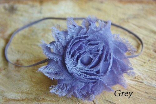 Girl Baby Elastic Headband HairBand Shabby Chic Flower Rose Christening Wedding