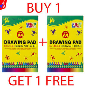 A4-ARTIST-SKETCH-DRAWING-BOOKS-PADS-60-SHEETS-60GSM-QUALITY-NEW