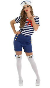 Womens-Sexy-Sailor-Navy-Fancy-Dress-Costume-Hat-amp-Tights-Ladies-UK-16-18-Large