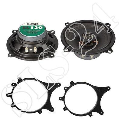 Fiat Panda 169 Lautsprecherringe 165mm T/üre Heck JVC CS-J1720X Lautsprecher 300W LSP-Set Adapter