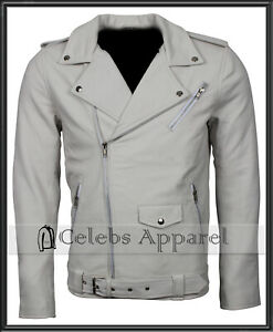 Men-039-s-White-Soft-Genuine-Leather-Brando-Motorcycle-Biker-Real-Jacket-All-sizes