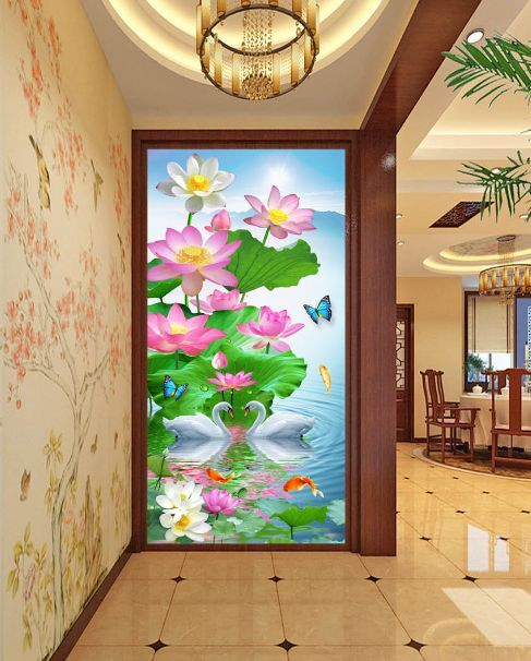 3D Lotus Moon Swan 3  Paper Wall Print Decal Wall Wall Murals AJ WALLPAPER GB