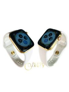 24K-Gold-Plated-44MM-Apple-Watch-SERIES-4-With-White-Sport-Band-GPS-CELLULAR