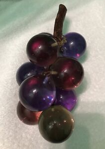 Vtg-60s-MCM-8-034-Glass-Lucite-Acrylic-Multi-Purple-Red-Green-Grape-Cluster-on-Stem