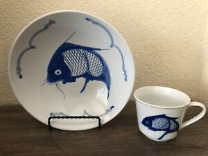 Vintage Chinese Porcelain Bowl Cup Blue Koi Carp Fish W Mark Ebay