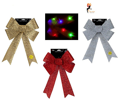 LED LIGHT UP TINSEL BOW Christmas Tree Top Topper Hanging Decor 43cm PM502090 UK