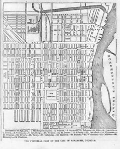Map Of Georgia 1865.Details About Savannah Georgia Principal Part Of The City 1865 Map Old Cemetery Columbia