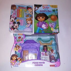 Dora-the-Exporer-Kids-Toys-12-Board-Books-Figurine-Storybook-Cabana-Gift-Set