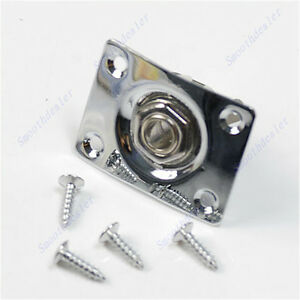 Hot-Guitar-Jack-Plate-Output-Socket-Chrome-Rectangle-For-Gibson-Epiphone