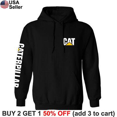 Caterpillar Hoodie Sweatshirt Sweater Shirt CAT Construction Equipment Chest