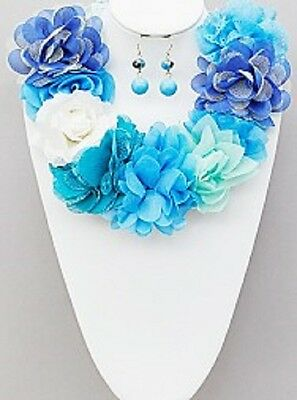 Blue Fabric Floral Blossom Chunky Collar Statement Ribbon Tie Necklace Set