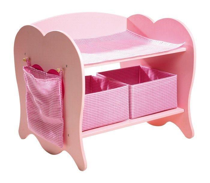 Fasciatoio lettino mobile per bambole in legno gioco x bambine